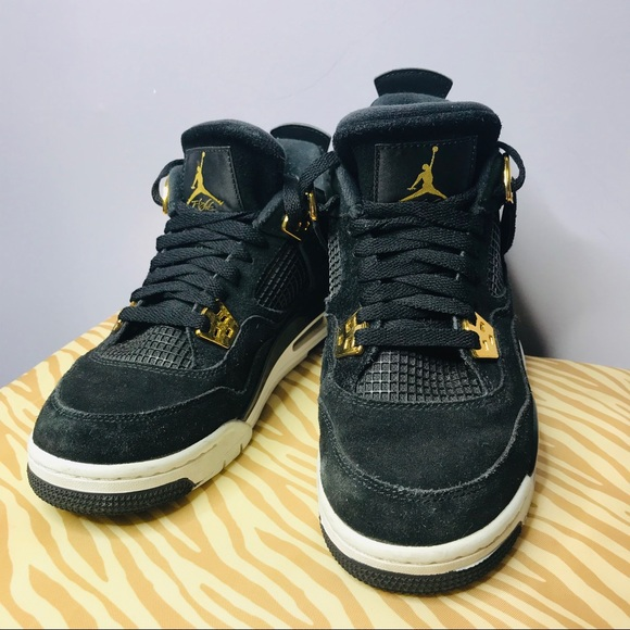 info for d7bf6 09ade air Jordan retro 4 royalty black gold size 7y